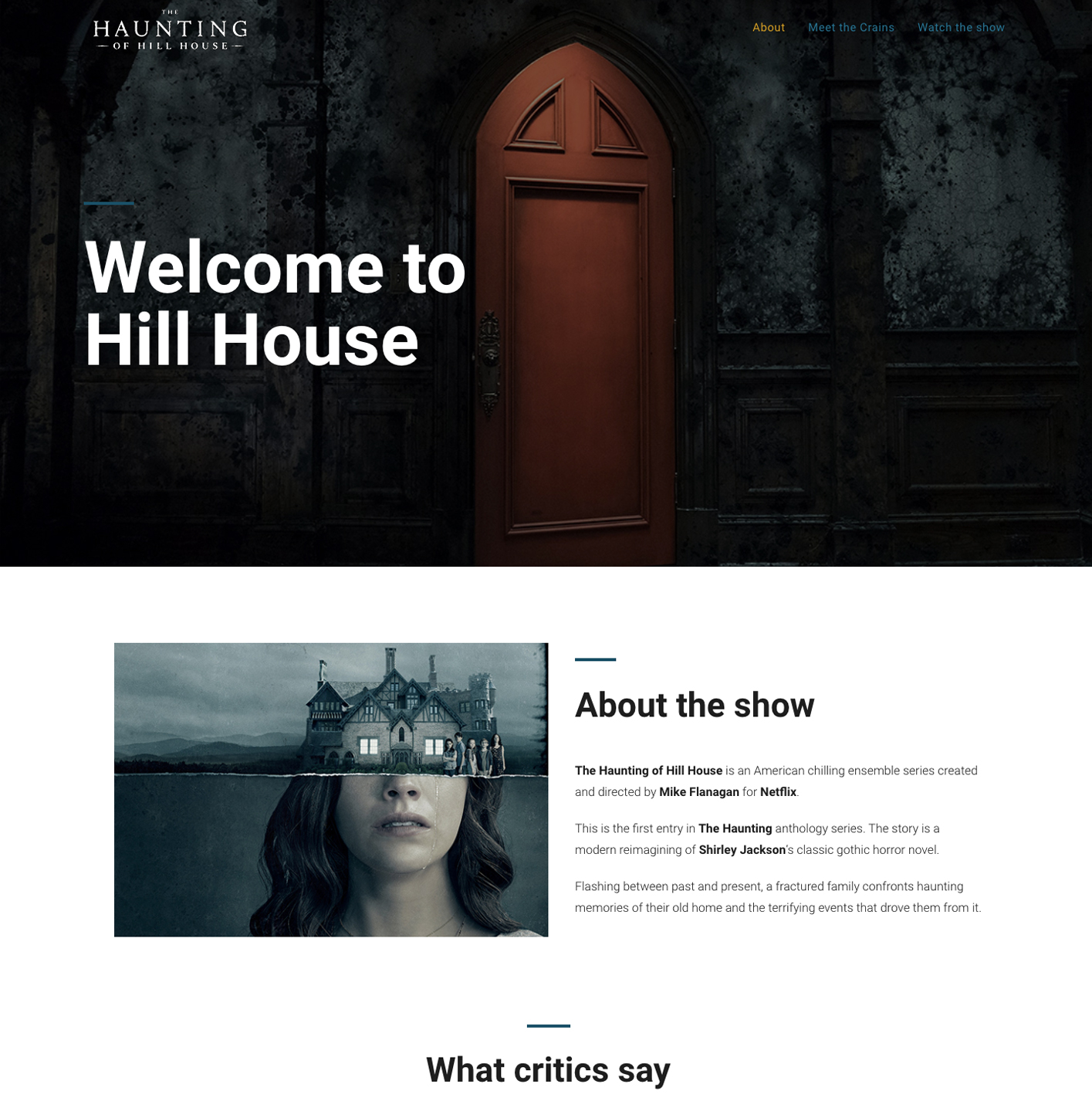 Mini sites The Haunting of Hill House