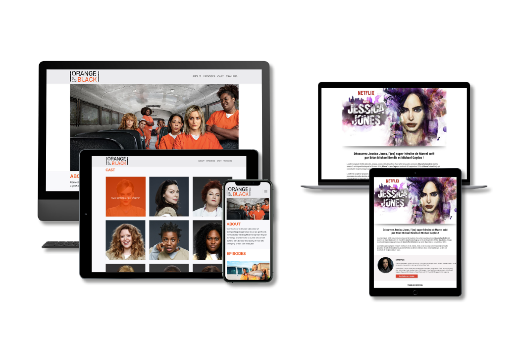 Landing pages Orange is The New Black and Jessica Jones