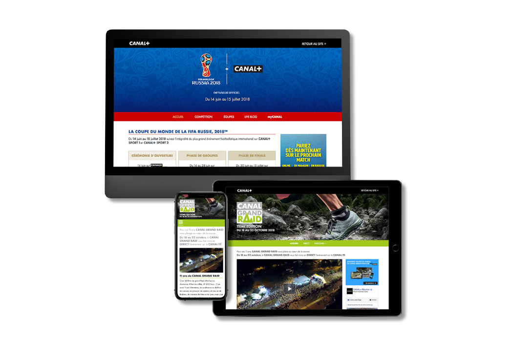 Mini sites 2018 FIFA World Cup and CANAL Grand Raid for CANAL+