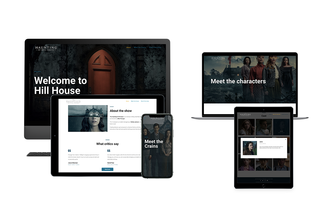 Mini sites The Haunting of Hill House and The Haunting of Bly Manor
